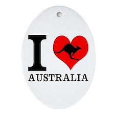 I Love Australia Ornament (Oval)