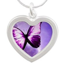 Purple Butterfly Silver Heart Necklace