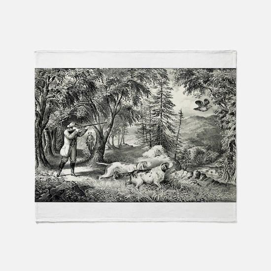 Partridge shooting - 1865 Throw Blanket