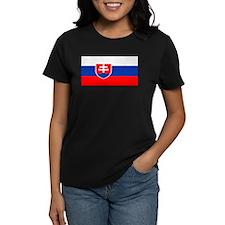 Slovakia Blank Flag Women's Black T-Shirt