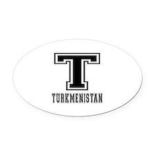 Turkmenistan Designs Oval Car Magnet