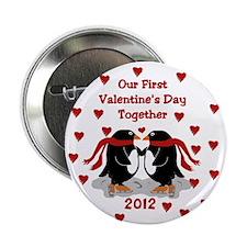 Penguin 1st Valentine's Day Button