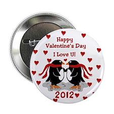 Penguin Love Valentine Button