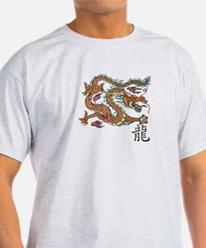 Ash Grey T-Shirt with Chinese Dragon