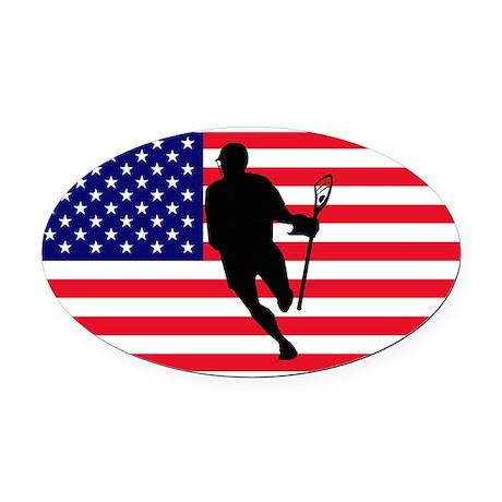 Lacrosse_IRock_America.psd Oval Car Magnet