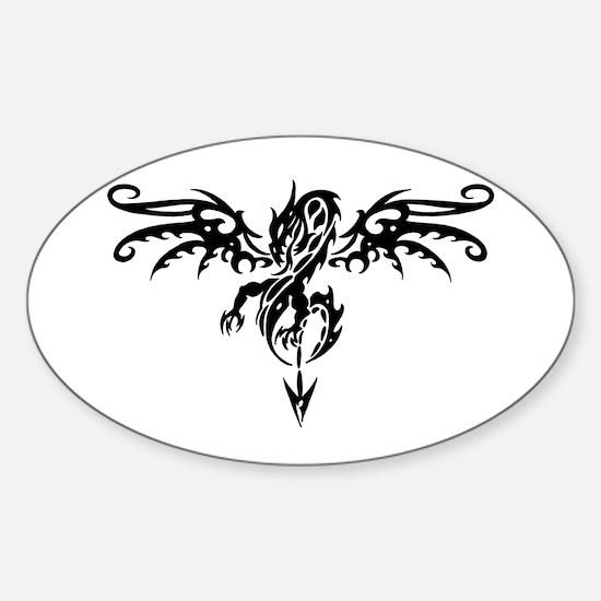 Tribal Dragon Tattoo Oval Decal