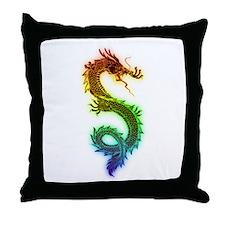 Rainbow Dragon Throw Pillow