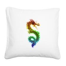 Rainbow Dragon Square Canvas Pillow