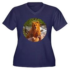 Bear Creek Women's Plus Size V-Neck Dark T-Shirt
