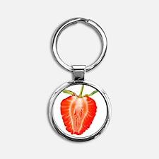 Sliced Strawberry Round Keychain