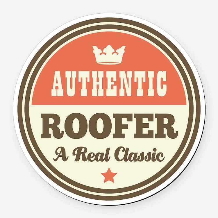 Roofer Vintage Round Car Magnet