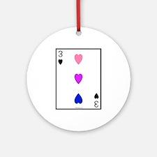 3 of Hearts bi colored hearts Ornament (Round)