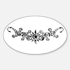 Tribal Gecko Lizards Tattoo Oval Decal