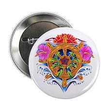 Ship's Wheel Nautical Floral Button