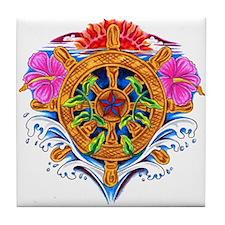 Ship's Wheel Nautical Floral Tile Coaster