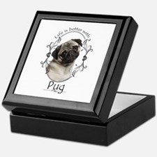 Lifes Better Pug Keepsake Box
