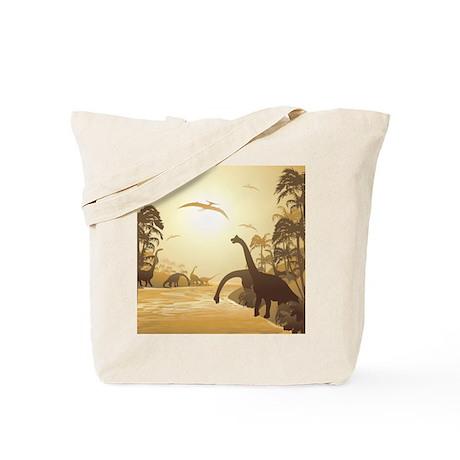 Dinosaurs on Tropical Jurassic Landscape Tote Bag
