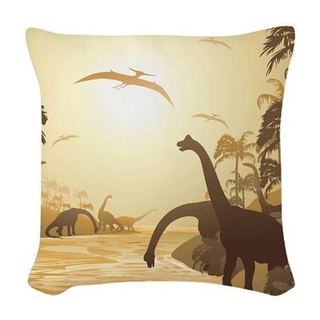 Dinosaurs on Tropical Jurassic Landscape Woven Thr
