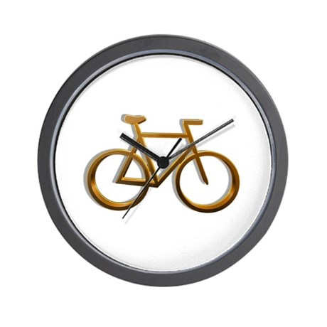 Gold Bicycle Designs Wall Clock
