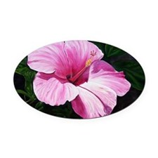 Pink Hibiscus Oval Car Magnet