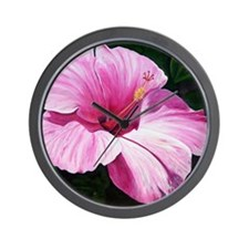 Pink Hibiscus Wall Clock