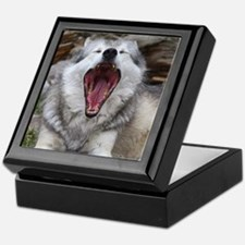 wolf with mouth open Keepsake Box