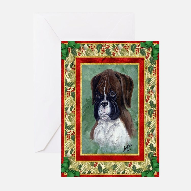 Boxer Puppy Dog Christmas Greeting Cards
