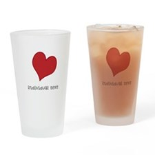 individual text, heart Drinking Glass