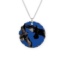 Raven in Flight Necklace Circle Charm