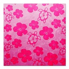 """Pink Honu and Hibiscus Square Car Magnet 3"""" x 3"""""""