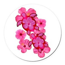 Hawaiian Honu And Hibiscus Round Car Magnet