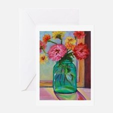 Zinnias in Mason Jar Greeting Cards