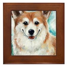 Corgi Smiles Framed Tile