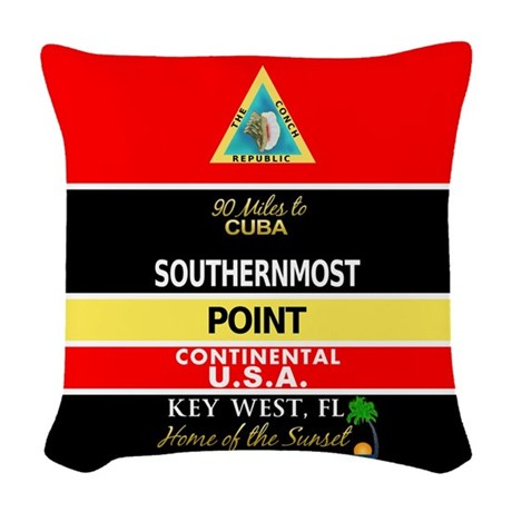 Southernmost Point Buoy Key West Woven Throw Pillo