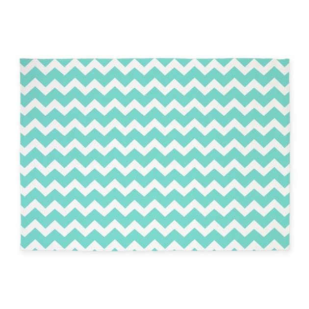 Aqua White Chevron Stripes Pattern 5'x7'Area Rug By