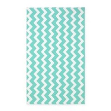 Aqua White Chevron Pattern 3'x5' Area Rug