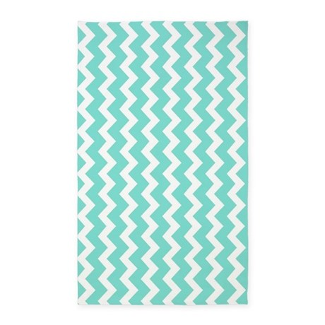 Aqua White Chevron Pattern 3u0027x5u0027 Area Rug