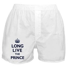 Long Live the Prince - Navy on White Boxer Shorts