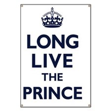 Long Live the Prince - Navy on White Banner