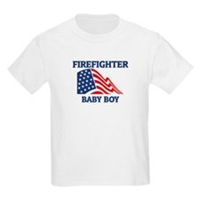 Firefighter BABY BOY (Flag) Kids T-Shirt