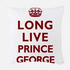 Long Live Prince George - Red on White Woven Throw