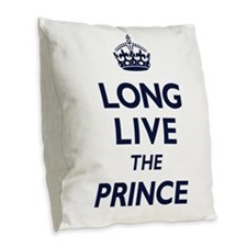 Long Live the Prince - Navy on White Burlap Throw