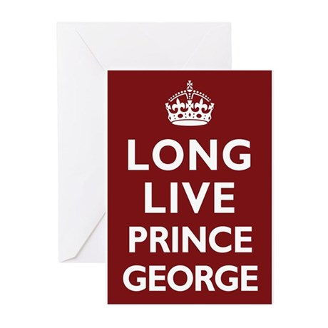 Long Live Prince George - Red Greeting Cards