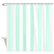 white and mint green stripe shower curtains white and
