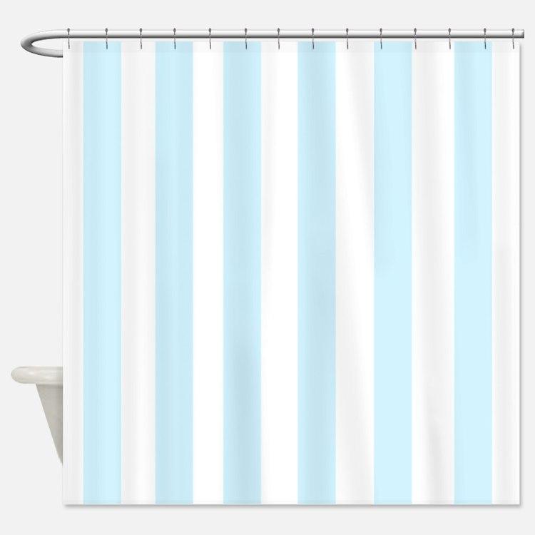 Light aqua Stripes Shower Curtain
