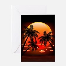 Warm Topical Sunset with Palm Trees Greeting Cards