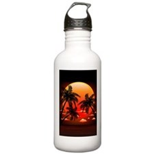 Warm Topical Sunset with Palm Trees Water Bottle