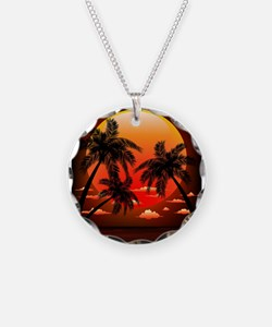 Warm Topical Sunset with Palm Trees Necklace