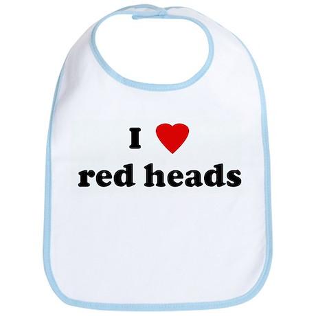 I Love red heads Bib
