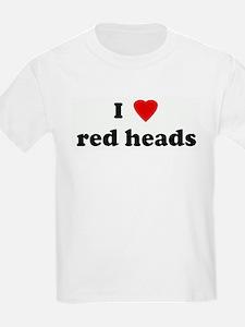 I Love red heads Kids T-Shirt